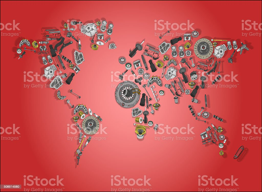 World map made up of spare parts stock photo