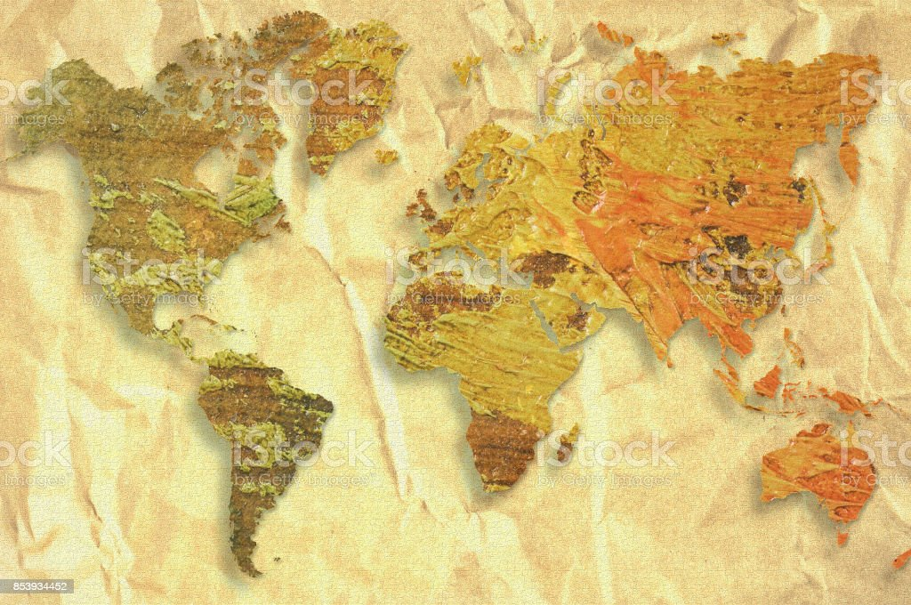 World Map Made With Artistic Oil Colors On Fabric Background ...