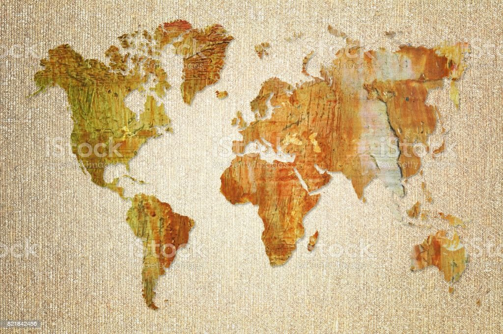 World map made with artistic oil colors on fabric background stock world map made with artistic oil colors on fabric background royalty free stock photo gumiabroncs Choice Image