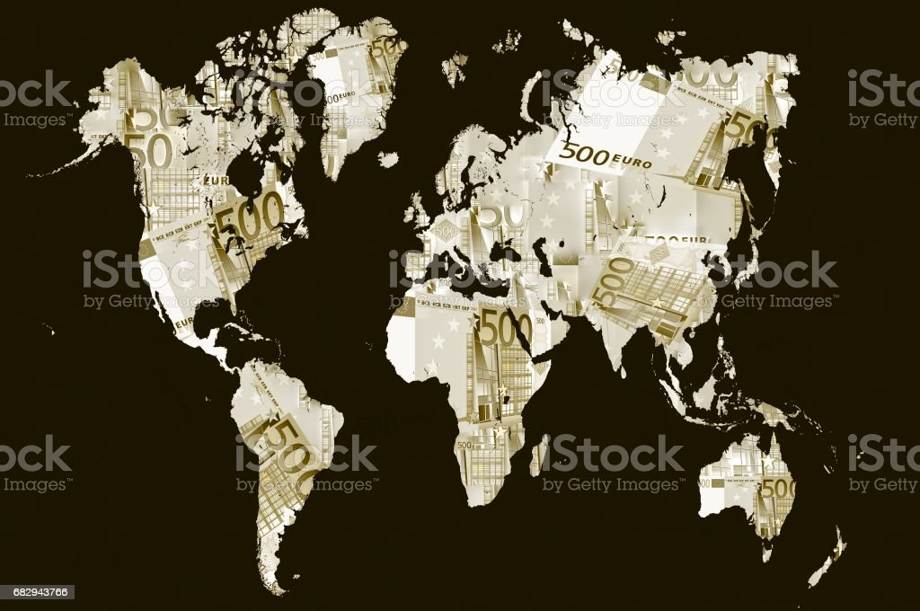 World map made with euro. Basic image of earth courtesy NASA. royalty-free stock photo
