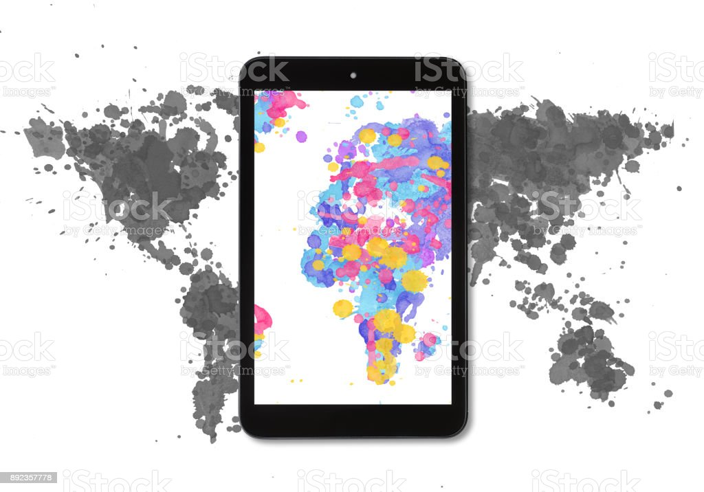 World map made with multicoloured watercolour drops stock photo