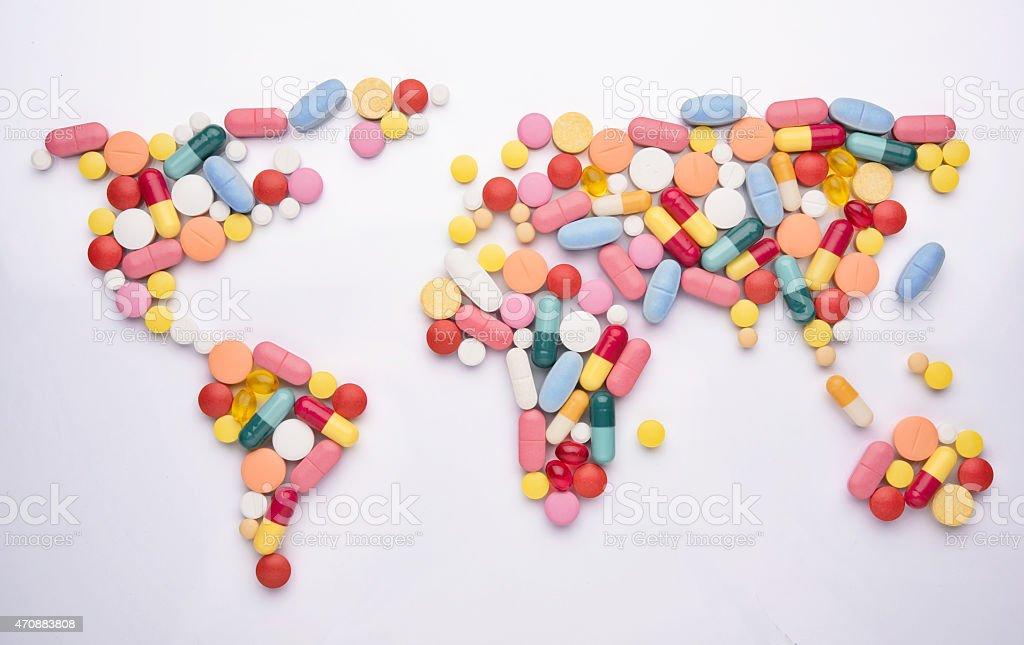 World map medicine stock photo