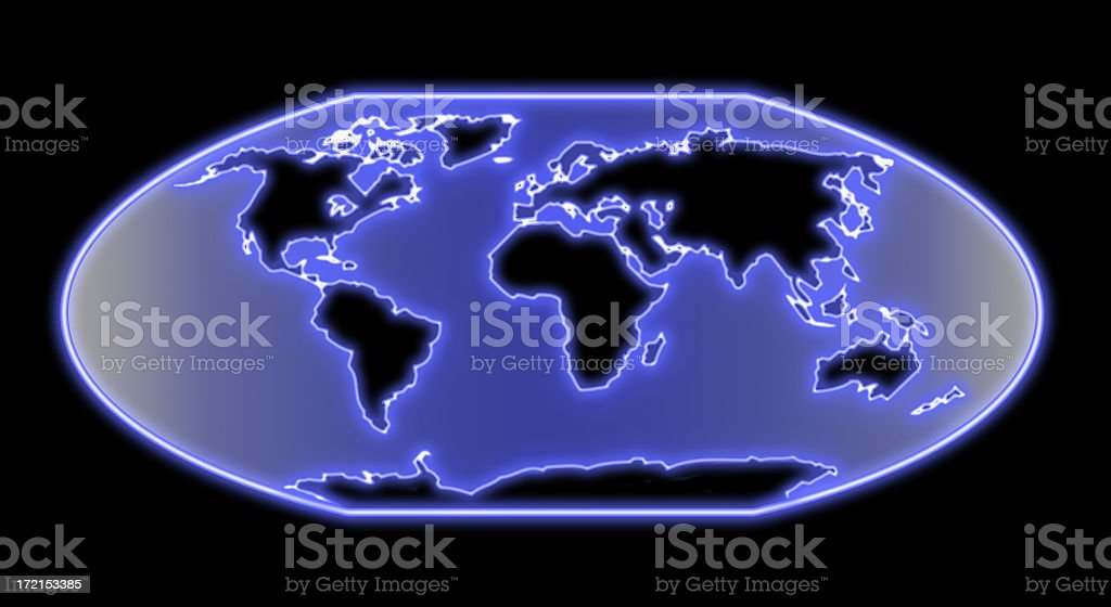 World map neon royalty-free stock photo