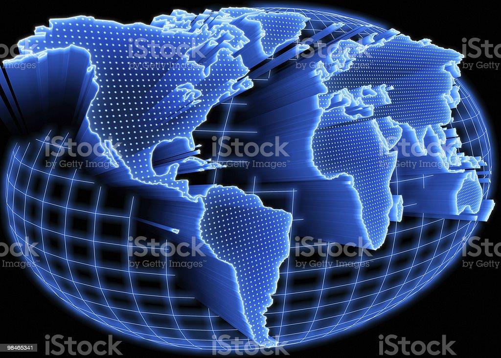Mappa del mondo in rete, illuminato foto stock royalty-free