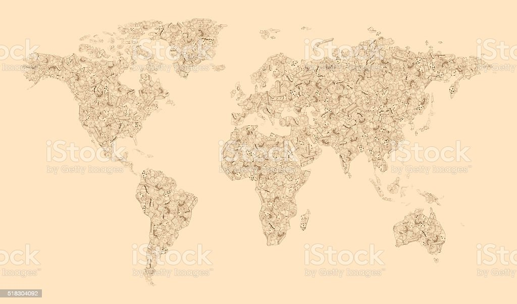 World Map of biscuits stock photo