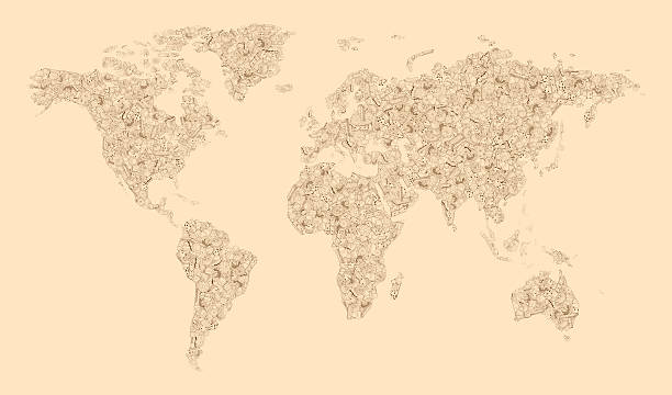 world map of biscuits - continent geographic area stock photos and pictures