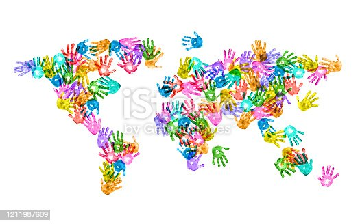 538675410 istock photo World Map of Colorful Children Handprints on White Background 1211987609