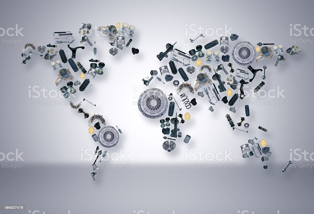World map of the spare parts for shop auto aftermarket stock photo