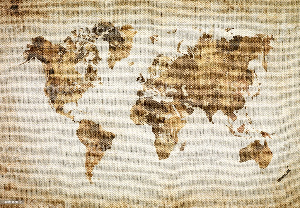 World map on a coffee sack stock photo more pictures of abstract world map on a coffee sack royalty free stock photo gumiabroncs Image collections