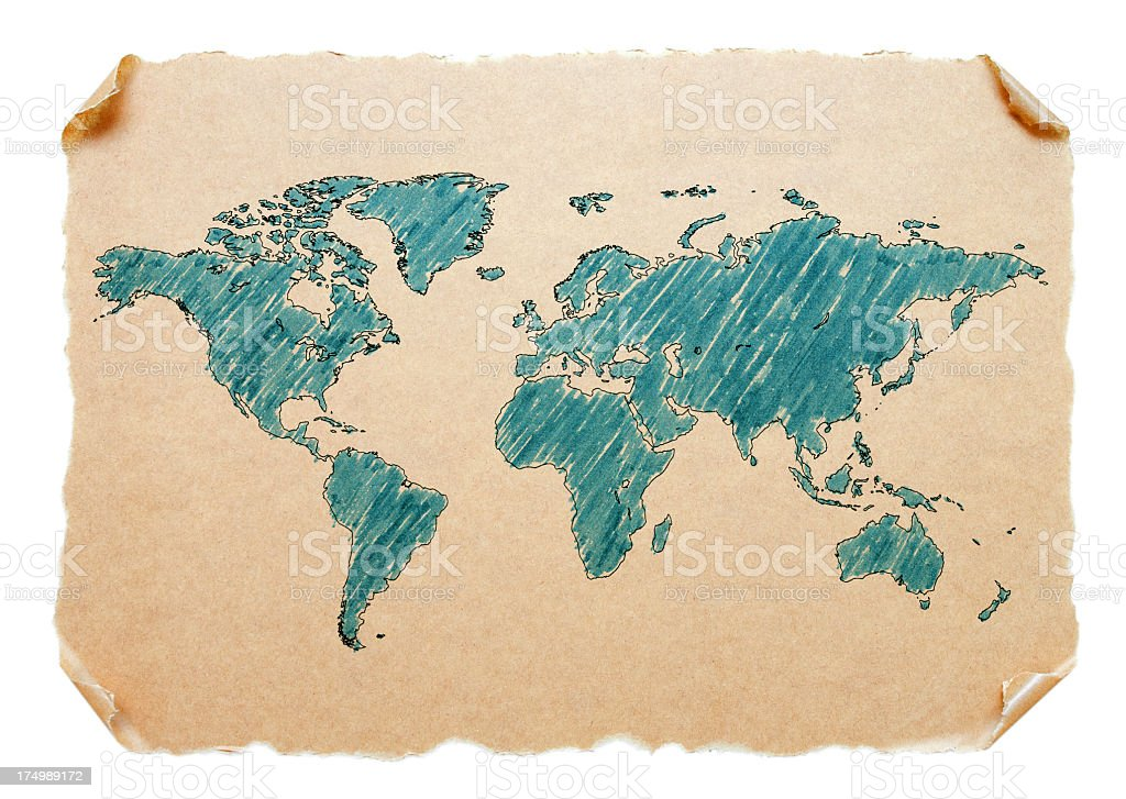 World Map on a old paper isolated on white background royalty-free stock photo