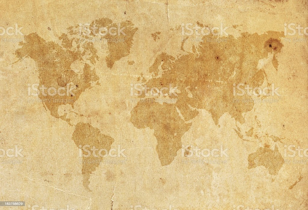 World Map on a old worn paper XXXL stock photo
