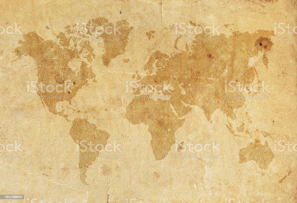 Mapa-múndi em uma antiga papel desgastado XXXL - foto de acervo