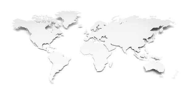 3D World Map On A White Paper With Clipping Path Stock Photo