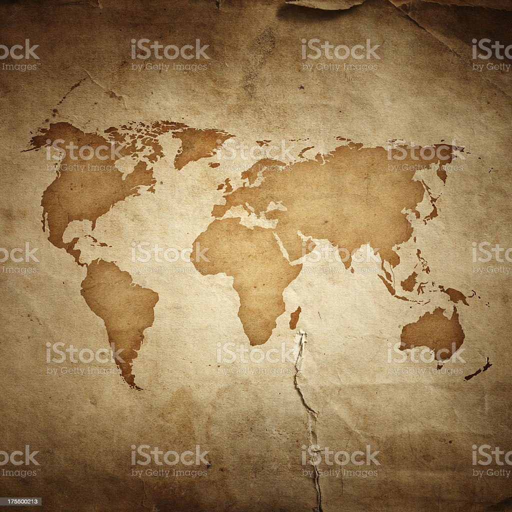 World map on aged paper texture background stock photo