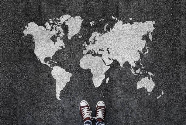 World map on an asphalt stock photo