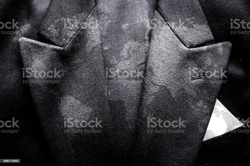 World map on business suit background texture stock photo