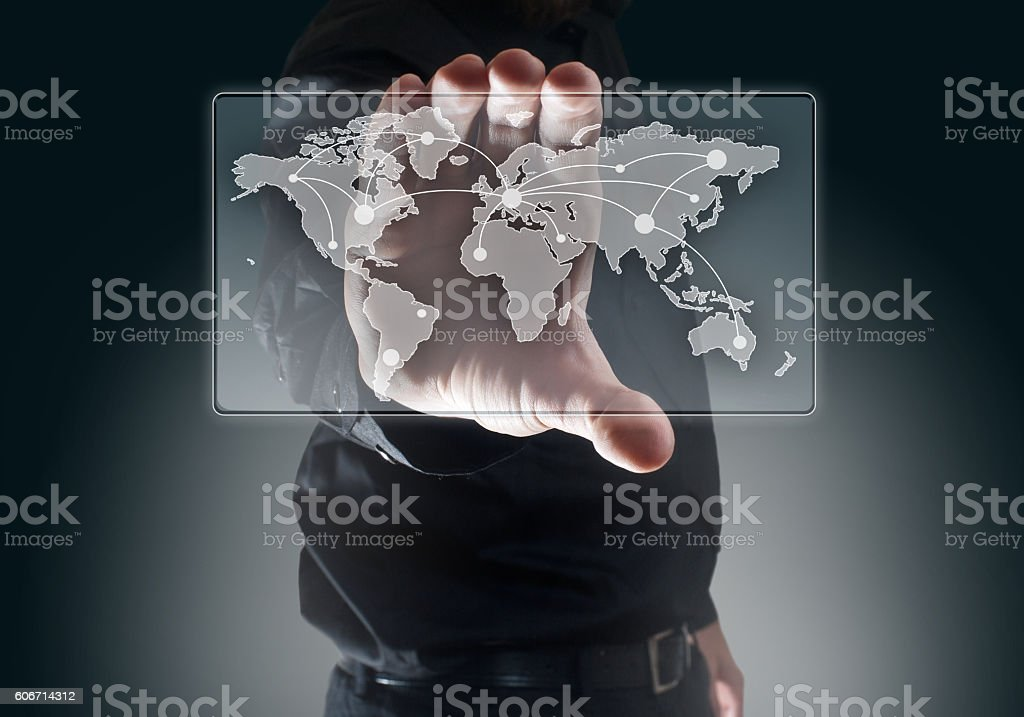 World map on cell phone /Touch screen (Click for more) stock photo