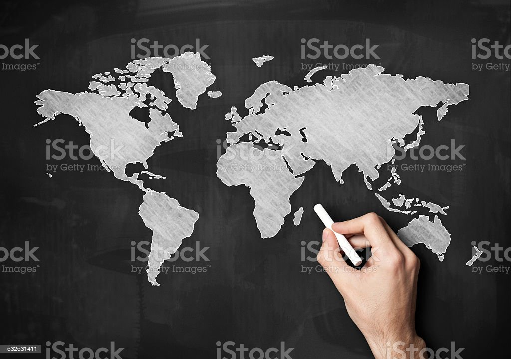 World Map On Chalkboard / Blackboard concept (Click for more) stock photo