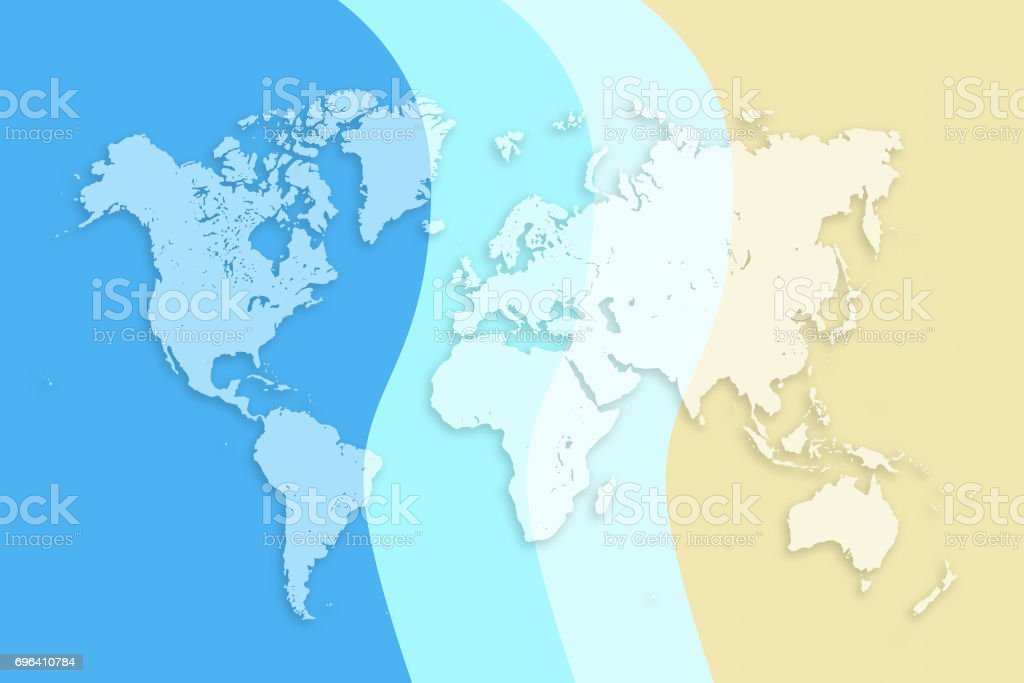 World Map On Colored Background Tourism Concept Banner Or Poster