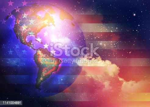 istock World Map on flag of the United Sates 1141004691