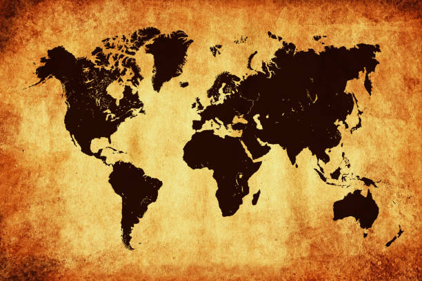 world map on grunge paper - continent geographic area stock photos and pictures