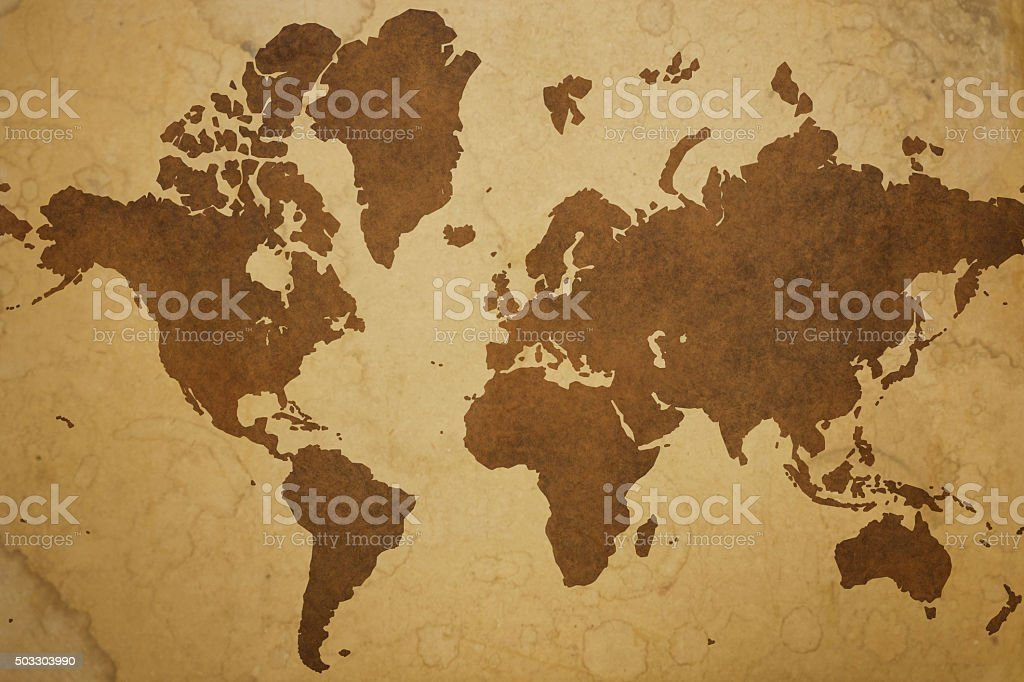 World map on grungy old paper background stock photo