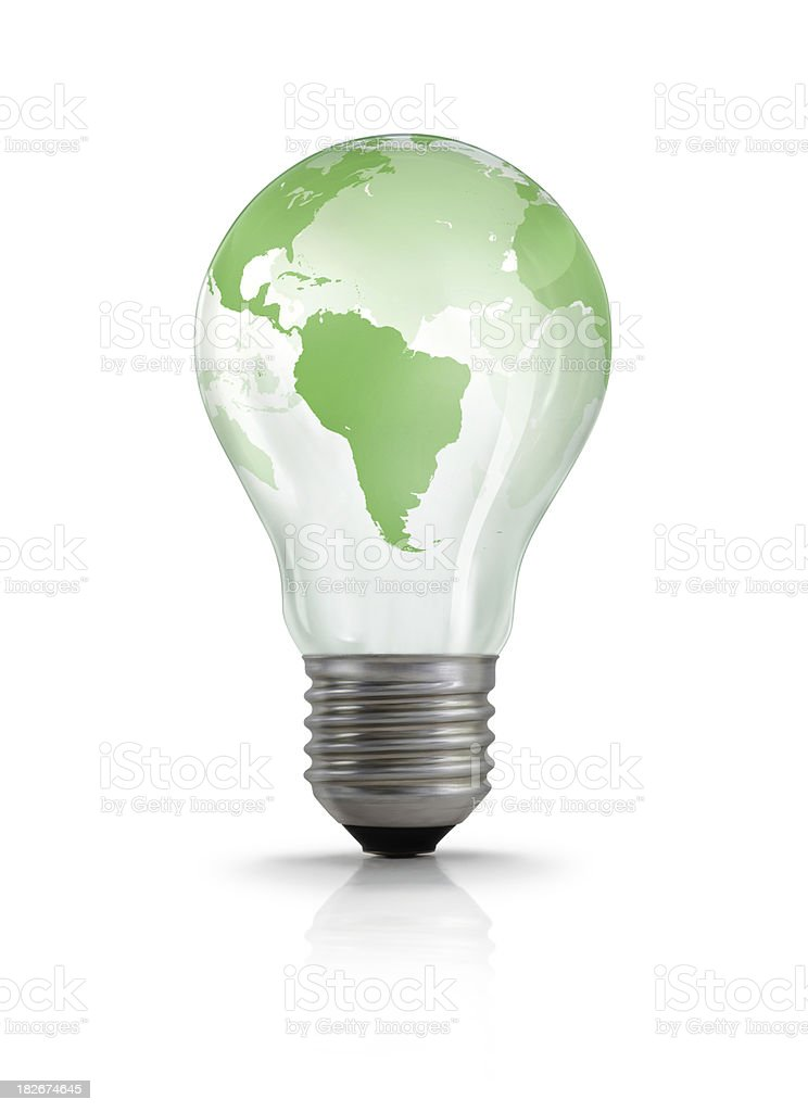 World Map on Light Bulb Green world map on a classic (filament) light bulb. Business Stock Photo