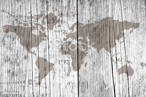 980314112 istock photo World map on the boards 980314074