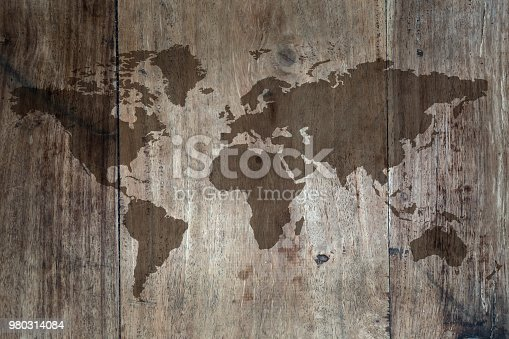 980314112 istock photo World map on the boards 980314084