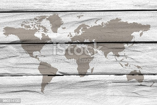 980314112 istock photo World map on the boards 980314100