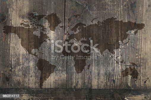 istock World map on the boards 980314112