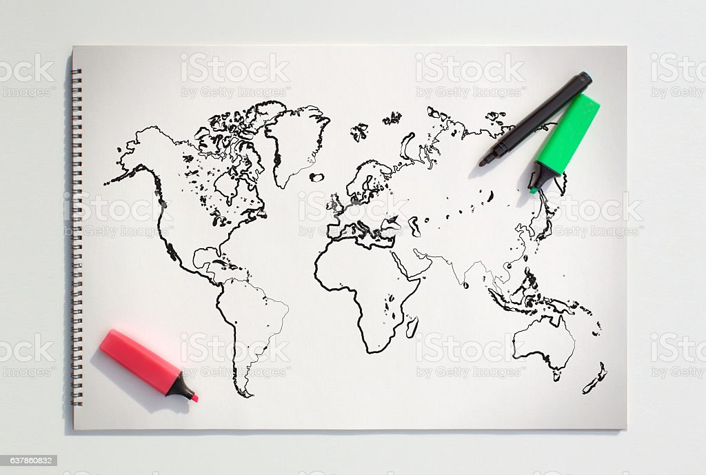 World map on the sketch book stock photo more pictures of world map on the sketch book royalty free stock photo gumiabroncs Images