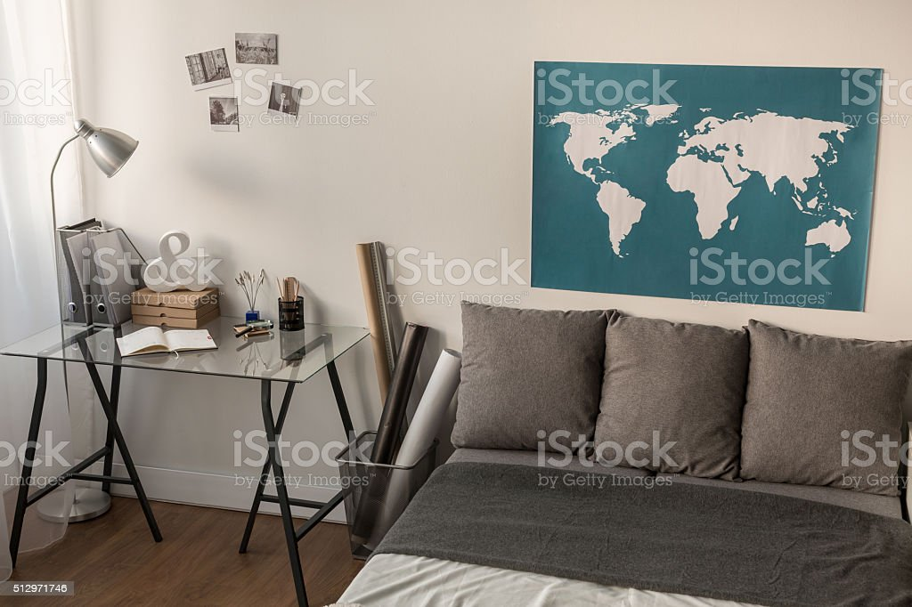 World map on the wall stock photo