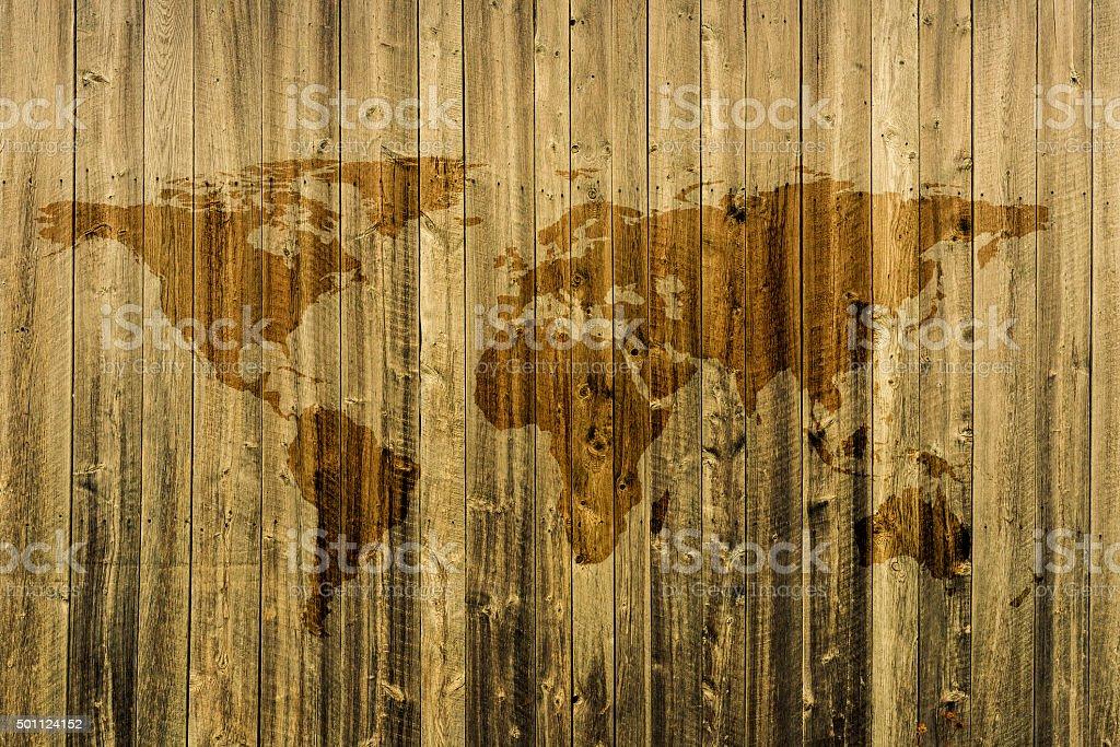 Carte Du Monde Sur Bois.Photo De Stock De Carte Du Monde Sur Fond En Bois Images Libres De