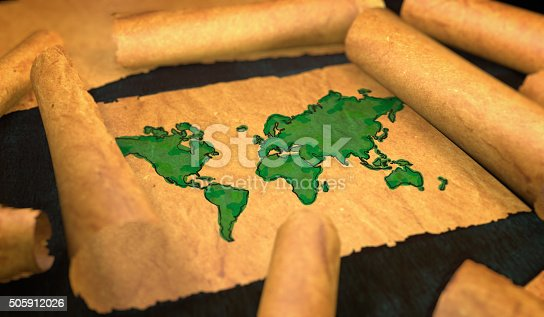 istock World Map Painting Unfolding Old Paper Scroll 3D 505912026