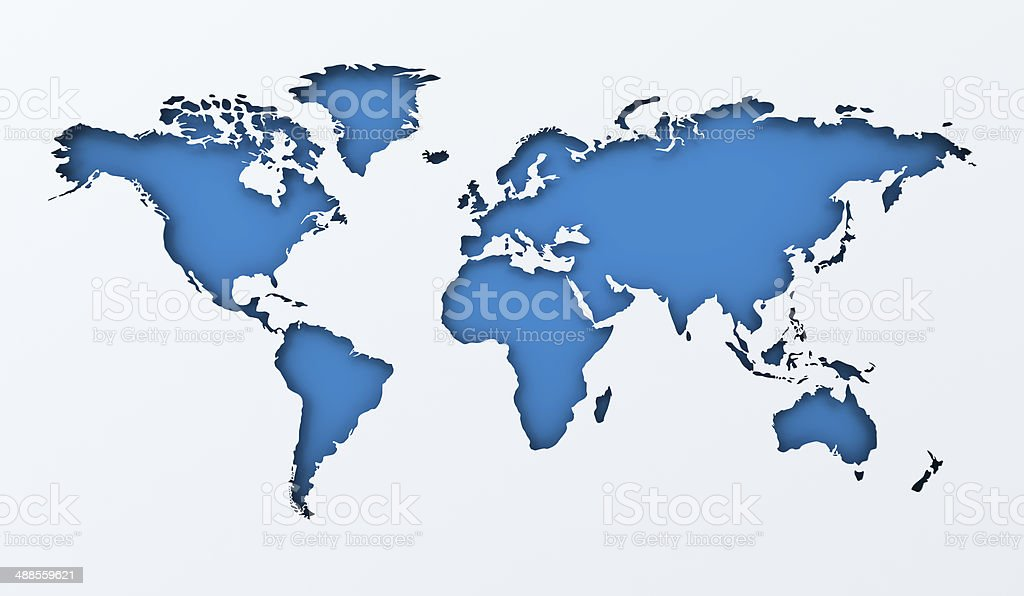 World map paper cutout with blue background, 3d render stock photo