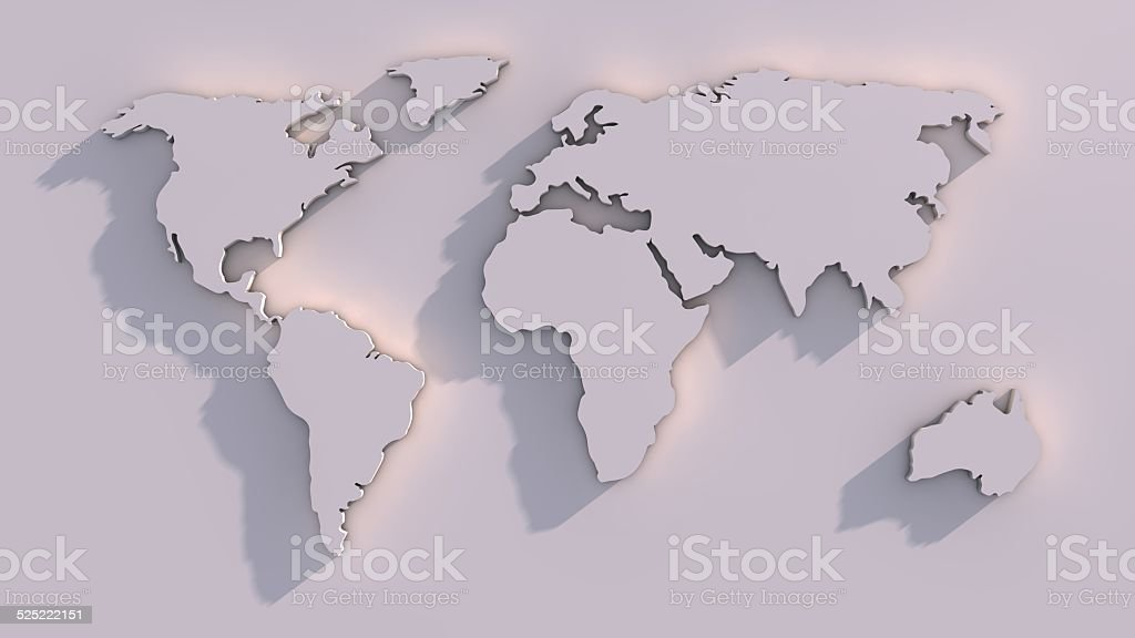 3 D mapa-múndi - foto de acervo