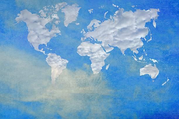 mapa do mundo em forma de nuvens. a imagem original com a cortesia da nasa. - mapa mundi imagens e fotografias de stock