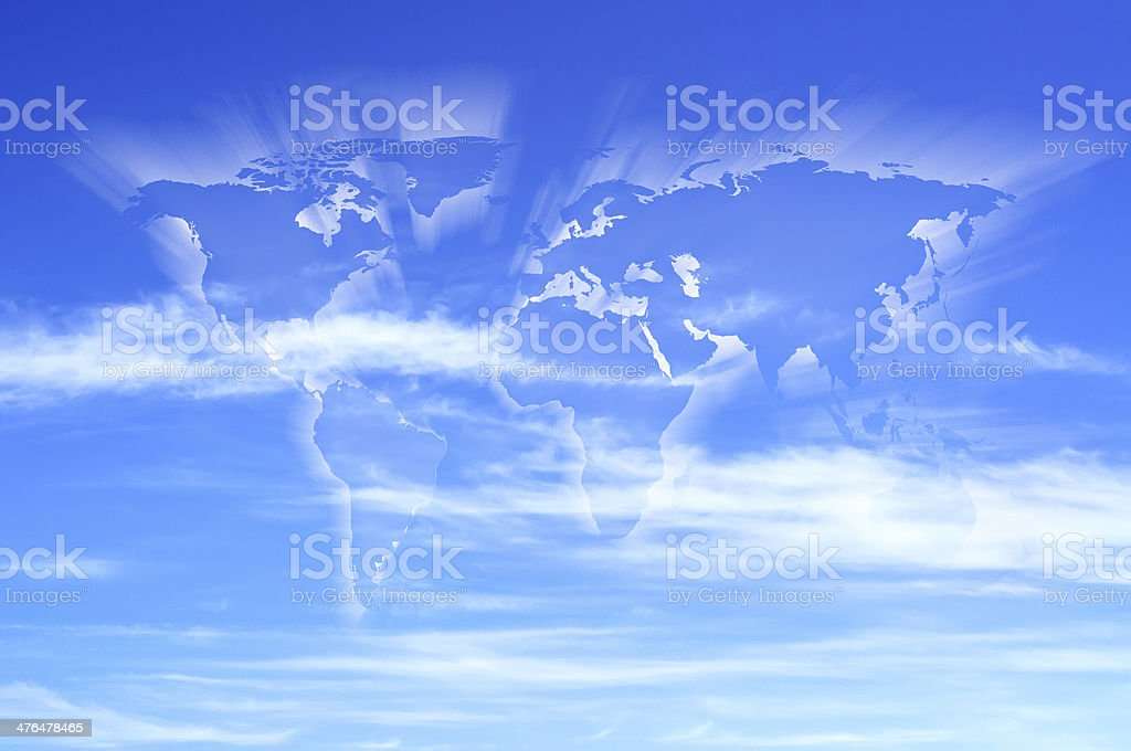 World map shaped clouds royalty-free stock photo