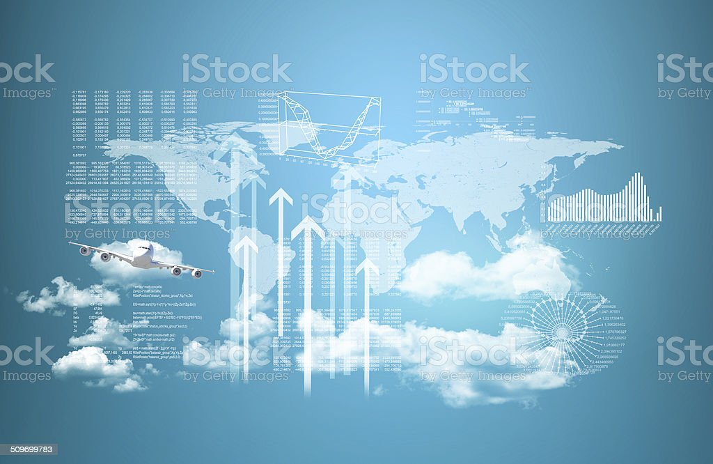 World map, skyscrapers and flying airplane stock photo