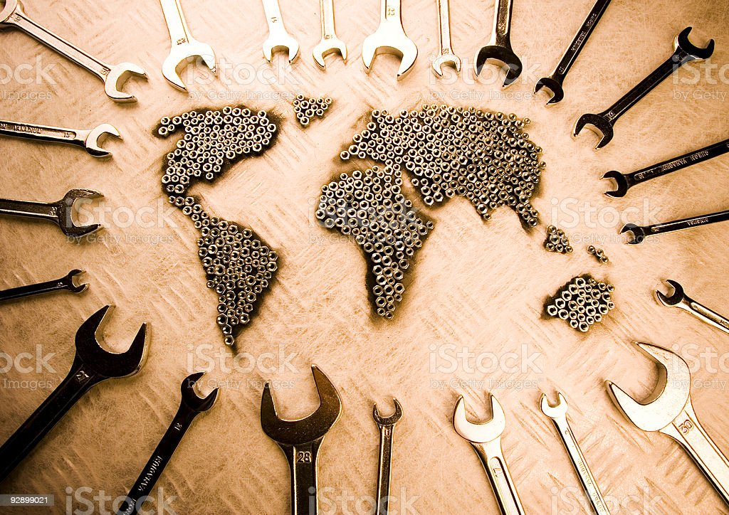 World map & Spanners stock photo