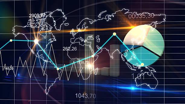 World Map Statistic Data Graph Dark Blue Finance Background 3D stock photo