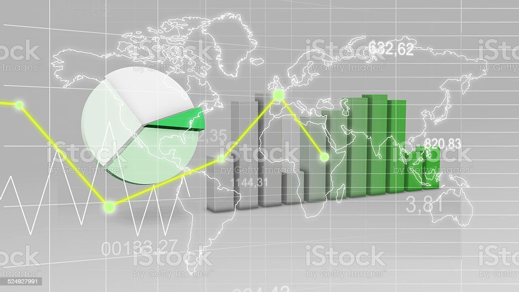 World Map Statistic Data Graph Green Finance 3D Background stock photo