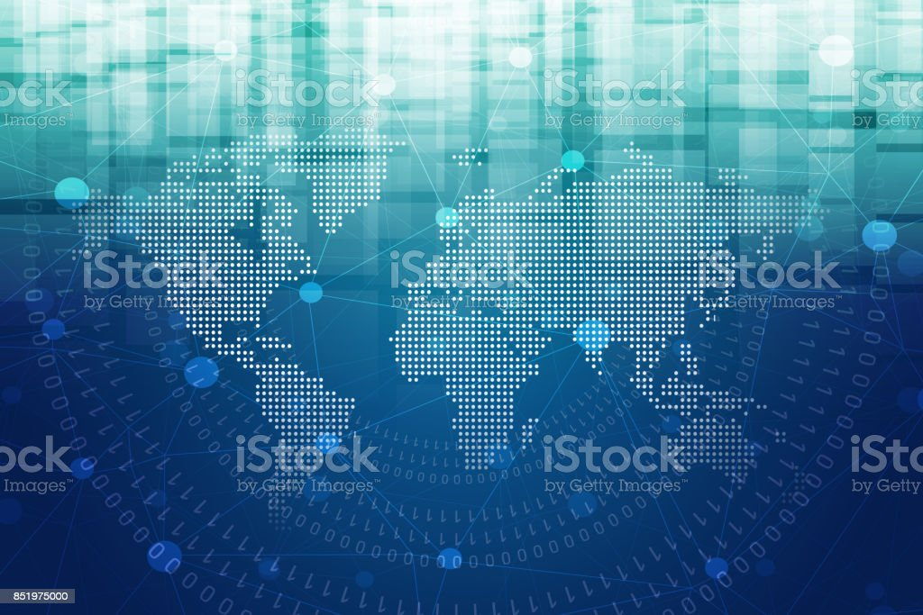 World Map Technology Abstract Background stock photo