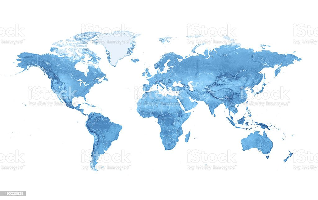 World Map Topography Countries Isolated stock photo