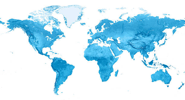 Topographic world map stock photos