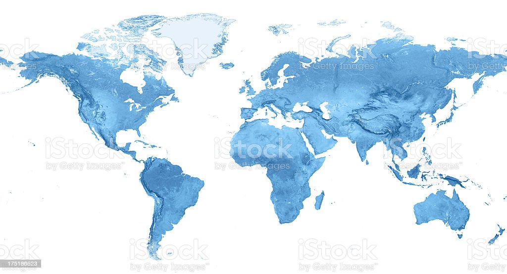 World Map Topography Miller Projection Isolated stock photo