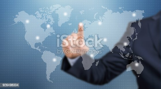 498272366 istock photo World map / Touch screen concept 926498004