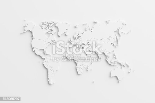 istock World map using card paper 515065297