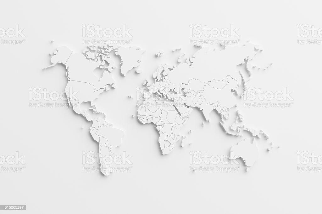 Mapa mundial con tarjeta de papel - foto de stock